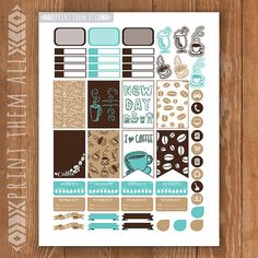 Coffee Printable Planner Stickers Happy от PrintThemAllStudio