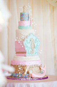 Stunning cake from an under the sea mermaid birthday party! See more party ideas at CatchMyParty.com!