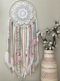 Large Pink and Blue Dream Catcher - Nursery Dream Catcher - Boho Pink Dream Catcher This is what dreams are made of. This boho-inspired dream catcher is a lovely addition to a beautiful nights sleep. Grand Dream Catcher, Dream Catcher Pink, Doily Dream Catchers, Dream Catcher Nursery, Dream Catcher Craft, Diy Dream Catcher For Kids, Making Dream Catchers, Diy Tumblr, Feather Painting