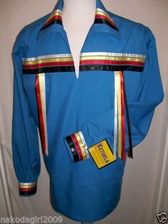 NATIVE AMERICAN INDIAN REGALIA *TRADITIONAL BLUE- 4 colors  RIBBON SHIRT