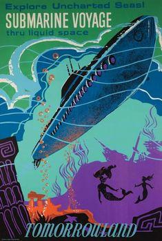 Retro Disneyland Attraction Posters - My Modern Metropolis #Disney #Disneyland #SubmarineVoyage