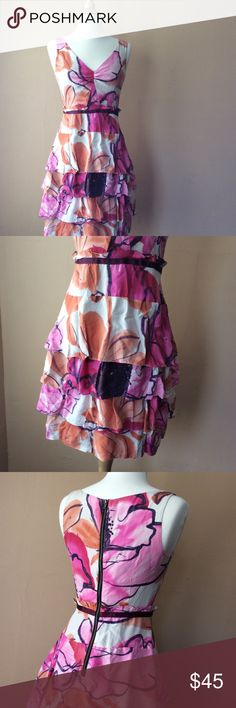 Moulinette Soeurs/Anthropologie Silk Dress Moulinette Soeurs for Anthropology, Beautiful Silk dress with 3 layers skirt, Floral design, back zipper, Lined 34 inches long Anthropologie Dresses