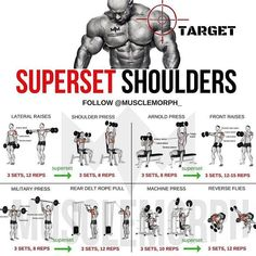 (Swipe Left) Complete 6 days a week superset workout plan!✅ Monday Chest Tuesday Back Wednesday Shoulders Thursday Legs Friday Arms Saturday Abs Sunday Rest Enhance your progre is part of Shoulder workout - Fitness Workouts, Weight Training Workouts, Gym Workout Tips, Week Workout, Traps Workout, Back Superset Workout, Deltoid Workout, Tuesday Workout, Push Pull Workout Routine
