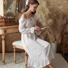 Sexy Slash Lace Up Sleep Wear Night Dress Vintage Nightgown Long Sleeve  Nightdress White Cotton Sleepwear 760787a1c