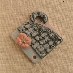 Square Porcelain Handmade Pendant Focal Bead with by PorcelainJazz, $18.00