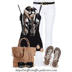 Chevron Mix scarf & Beaded sandals