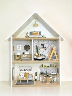 Ikea Dollhouse, Wooden Dollhouse, Dollhouse Miniatures, Doll House Plans, Creation Deco, Miniature Furniture, Modern Dollhouse Furniture, Little Doll, Barbie House
