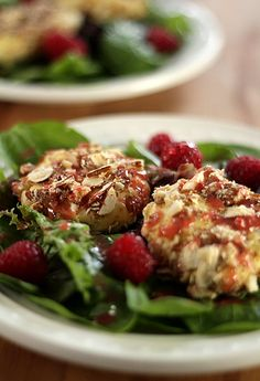 Goat cheese salad with raspberries.
