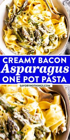 This is a creamy pasta dish you can cook in one single pot - that's right, even the pasta cooks right in the sauce! Made with bacon, fresh asparagus and lots of cream sauce. Great as a main, but also good as a side dish with chicken or fish. | #pasta #pastarecipes #asparagus #bacon #easydinner #dinnerideas #dinnerrecipes #easyrecipes Veggie Recipes, Lunch Recipes, Pasta Recipes, Vegetarian Recipes, Cooking Recipes, Pasta Sauces, Meal Recipes, Cooking Ideas, Food Ideas