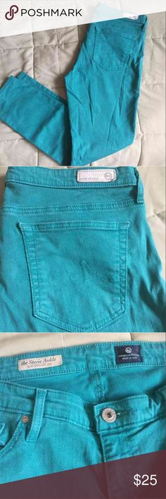 Stevie Ankle AG Skinny Jeans Well-loved, but have so much life left in them. Super soft and cute. Beautiful turquoise color. AG Adriano Goldschmied Jeans Ankle & Cropped