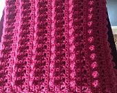 CROCHETED AFGHAN -FUCHSIA, purple crocheted throw, crocheted blanket raspberry, modern crocheted blanket, home decor, beach house decor