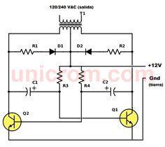Este inversor 12VDC a 120VAC funciona usando la batería de 12 voltios del auto. La potencia del inversor depende de los transistores y el transformador