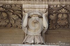 Basilica of Santa Croce, Lecce, detail over a figurine of turkish prisoner of war made during the battle of Lepanto