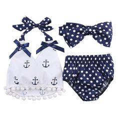 Cheap baby suit, Buy Quality baby girl clothes directly from China infant baby girl clothes Suppliers: summer baby suit wholesale infant baby girls clothes anchor halter tops+polka dot briefs outfits set sunsuit Cute Baby Girl Outfits, Baby Girl Romper, Kids Outfits, Baby Girls, Toddler Outfits, Infant Girls, Summer Outfits, Baby Bloomers, Junior Outfits
