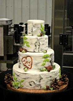 Birch Bark Wedding Cake Adorable