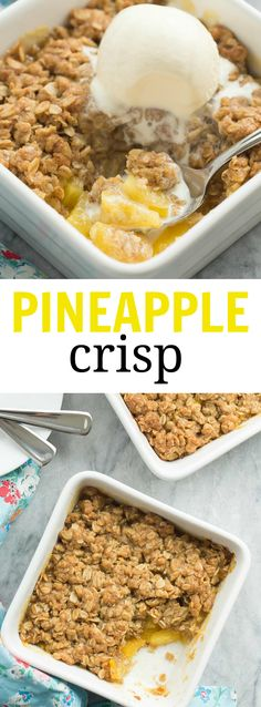 Pineapple Crisp Recipe For pineapple lovers! This Pineapple Crisp is loaded with fresh pineapple chunks, topped with a brown sugar streusel, and baked until golden! SO good with vanilla ice cream! Köstliche Desserts, Gluten Free Desserts, Delicious Desserts, Yummy Food, Parfait Desserts, French Desserts, Fruit Recipes, Sweet Recipes, Cooking Recipes