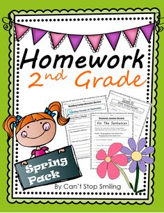 A Spring Homework Packet for Second Grade-reinforce skills in reading comp, grammar and spelling of high frequency words