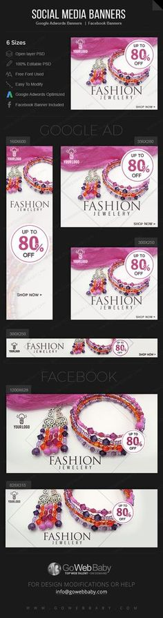 21701d1cf Google Adwords Display Banner with Facebook banners -FASHION JEWELERY Store  Website Marketing