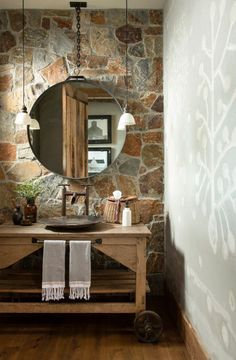 Rustic Powder Room with Stone Room Town And Country, Country Decor, Country Living, Rustic French Country, Modern Rustic, Rustic Powder Room, Hunting Cabin, Home On The Range, The Ranch