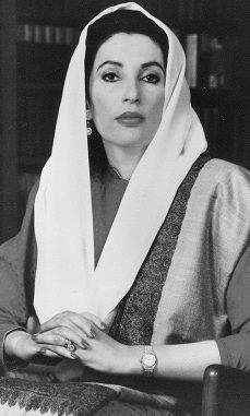 Benazir Bhutto (Urdu: بينظير بھٹو), pronounced [beːnəˈziːr ˈbʱʊʈʈoː]; 21 June 1953 – 27 December 2007) was the 11th Prime Minister of Pakistan, serving two non-consecutive terms in 1988–90 and then 1993–96. A scion of the politically powerful Bhutto family, she was the eldest daughter of Zulfikar Ali Bhutto, a former prime minister himself who founded the centre-left, social-democratic Pakistan Peoples Party (PPP)...