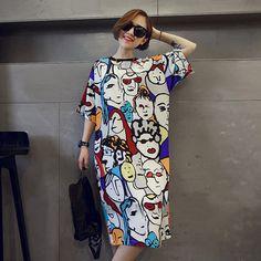 Plus size summer dress 2016 vestidos character casual print loose t shirt dress robe maxi tshirt dresses sexy party women dress