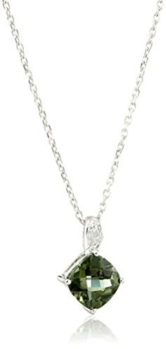 Hallmark Jewelry Birthday Sterling Silver Synthetic Emerald and Diamond Pendant Necklace 18  2 Extender >>> Read more by visiting the link on the image.