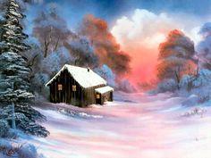 Super Ideas For Winter Art Painting Bob Ross The Joy Of Painting, Painting Art, Art Paintings, Painting Lessons, Indian Paintings, Abstract Paintings, Winter Painting, Winter Art, Winter Cabin