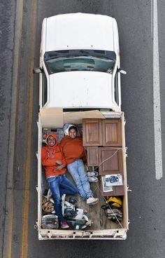Very cool series of shots of Carpoolers Resting in Pickup Trucks