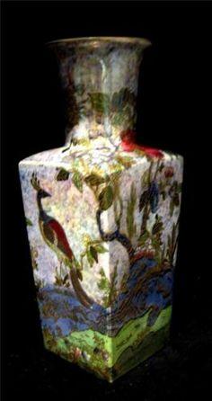 A G Harley Jones Wilton Ware Fairyland Lustre Style Vase with Peacocks & Gilding | eBay