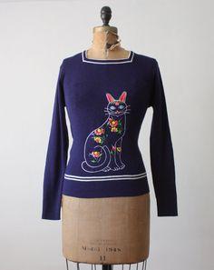 vintage cat sweater