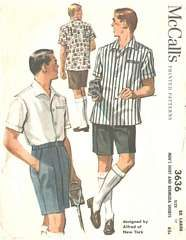 1950's Men's Shirt and Bermuda Shorts Pattern Size XL 17