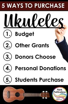 This is a great post on how to get ukuleles for your elementary music program! She explains 5 ways to get your ukulele program going with or without a budget! Go purchase your ukuleles now! Singing Lessons, Music Lessons, Learn Singing, Guitar Lessons, Music Education Activities, Group Activities, Teaching Resources, Teaching Ideas, Music Classroom