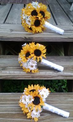 Yellow Sunflower, Real Touch Babies Breath, Small Shasta Daisies Bridal Bouquet Wedding Set wrapped in White