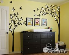 Tree Wall Decal -  Nursery Wall Decoration - Tree Wall Sticker - Corner Tree decal - Set of Two trees - KC019 on Etsy, $110.00