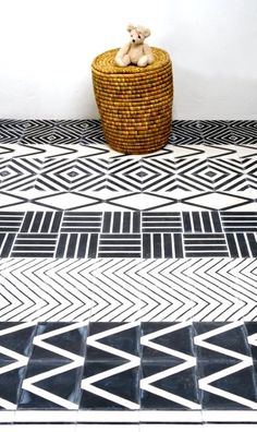 Kelim Floor Tiles by Mats Theselius #blackandwhite #africentric #tile