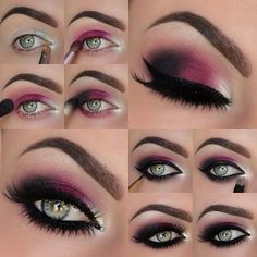 Makeup Ideas For Prom - Dark Red Violet Eye Makeup - These Are The Best Makeup Ideas For Prom and Homecoming For Women With Blue Eyes, Brown Eyes, or Green Eyes. These Step By Step Makeup Ideas Include Natural and Glitter Eyeshadows and Go Great With Gold, Silver, Yellow, And Pink Dresses. Try These And Our Step By Step Tutorials With Red Lipsticks and Unique Contouring To Help Blondes and Brunettes Get That Vintage Look. - thegoddess.com/makeup-ideas-prom