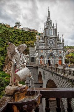 Las Lajas Sanctuary is a basilica church located in southern Colombia Trip To Colombia, Colombia Travel, Columbia South America, South America Travel, North America, Beautiful Castles, Beautiful Places, Places To Travel, Places To See