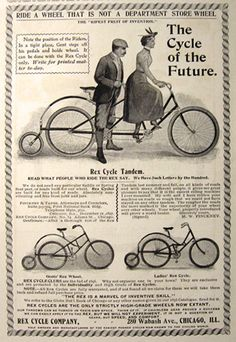 1898 Antique Rex Cycle Bicycle Ad ~ Tandem, Ladies, Gents Cycles - Londonderry rode a Tandem in France Velo Vintage, Vintage Cycles, Vintage Bikes, Vintage Ads, Vintage Posters, Vintage Ephemera, Tandem Bicycle, Old Bicycle, Bicycle Art