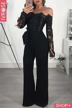 Appliques Lace Patchwork Jumpsuit Women Sexy Off Shoulder Slash Neck Long Sleeve Women Jumpsuit Elegant Slim Wide Leg Jumpsuit Jumpsuit Elegante, Gold Jumpsuit, Jumpsuit Outfit, Denim Jumpsuit, Petite Jumpsuit, Fitted Jumpsuit, Wrap Jumpsuit, Formal Jumpsuit
