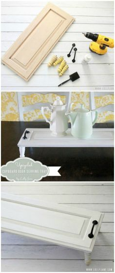 Turn a cupboard door in a serving tray!!
