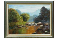 Pintura tela rio manso de Alacir Balbi
