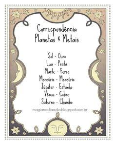 Magia no Dia a Dia: Correspondência: Planetas & Metais  http://magianodiaadia.blogspot.com.br/