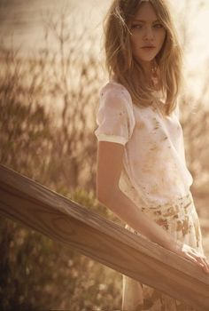 Such a lovely look. Model: Sasha Pivovarova | Photographer: Serge Leblon - for Club Monaco, Spring 2012 Campaign by