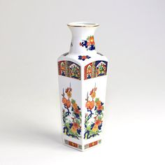 #Vintage #Retro #Japanese #Vase by UCGC #Japan  #Porcelain Floral by OneRustyNail on #Etsy