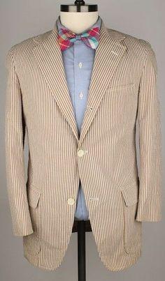 SUMMER J Press Beige Cotton Seersucker Vtg 38 S Mens Sport Coat Blazer