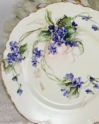 Antique French Haviland & Cie Limoges Hand Painted Plate Violets-purple, flower,gilt, gold,pink, lavender,handpainted,collection,yellow,
