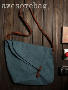 15Blue   Cow leather bag canvas bag BACKPACK  by AWESOMEBAG, $39.99