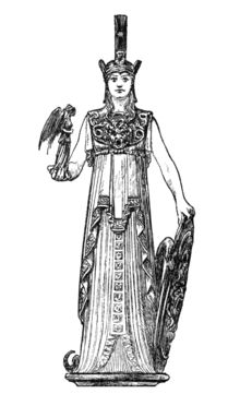 This is an illustration of the Athena Parthenos, the most famous statue of Athena to exist. Historians believe that it was melted down for the ivory and gold in it by Roman invaders