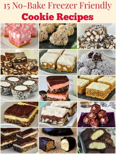 No Bake Christmas Cookies - 15 easy recipes that are freezer friendly too! A collection of popular no bake cookies that are perfect for Christmas treats. Freezable Cookies, Freezer Cookies, Freezer Desserts, No Bake Cookies, No Bake Desserts, Dessert Recipes, Freezer Meals, Quick Cookies, Freezer Recipes