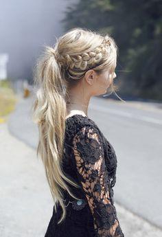 Easy ponytail for long hair